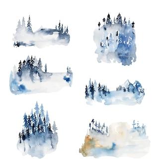 Kolekcja akwareli zimowych krajobrazów i leśnych widoków przyrody ręcznie rysowane na białym tle ilustracje