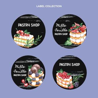 Kolekcja akwarelowych etykiet żywności