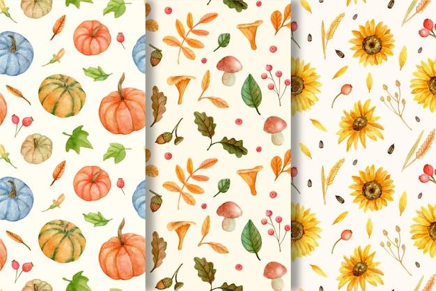 Kolekcja akwarelowych jesiennych wzorów