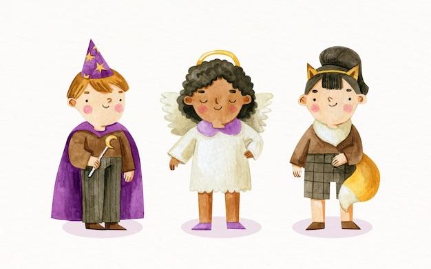 Kolekcja akwarelowych kostiumów na halloween