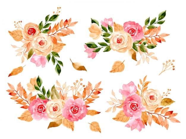 Kolekcja akwarelowych kwiatów