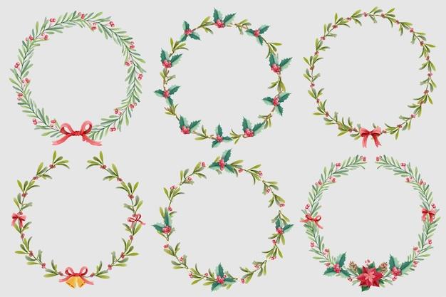 Kolekcja akwarelowych wieńców świątecznych