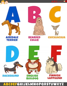 Kolekcja alfabet kreskówka z ras psów