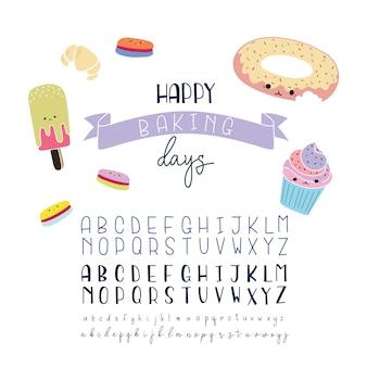 Kolekcja alfabetów piekarni