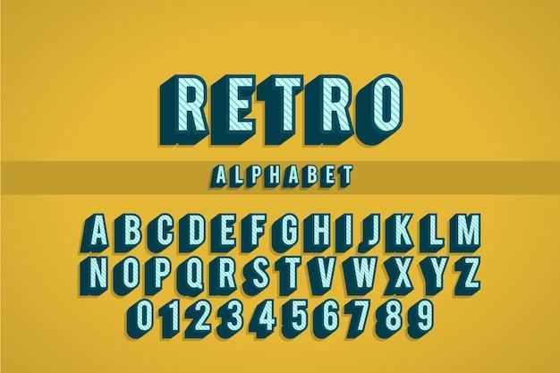 Kolekcja alfabetu od a do z w 3d retro