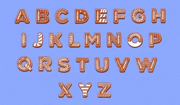 Kolekcja alfabetu świątecznego piernika