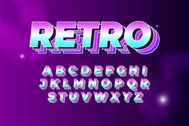 Kolekcja alfabetu w 3d motyw retro