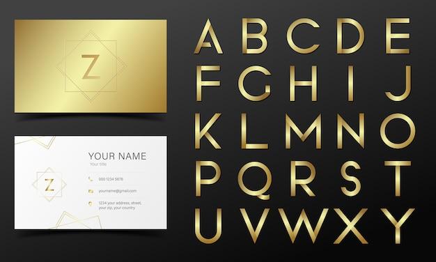 Kolekcja alfabetu w złotym kolorze