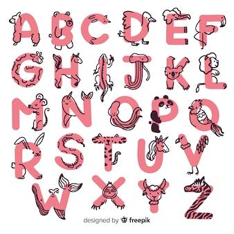 Kolekcja alfabetu zwierząt w wieku przedszkolnym