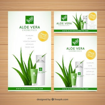 Kolekcja aloe vera banery