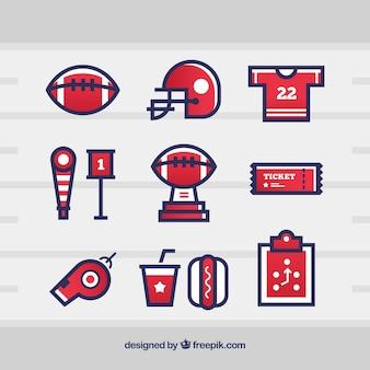 Kolekcja amerykańskich elementów piłkarskich