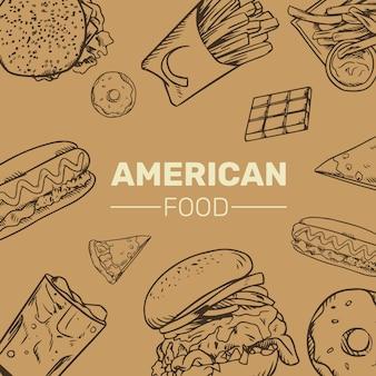 Kolekcja amerykańskich fast foodów handrawn ilustracja
