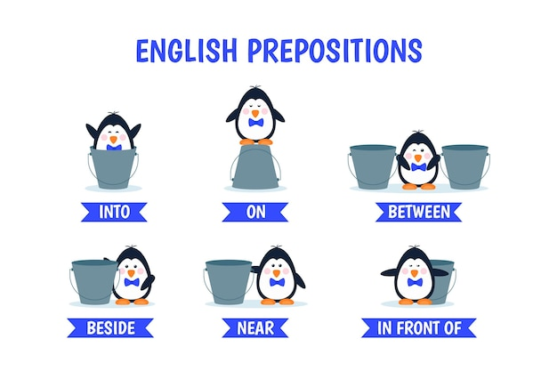 Kolekcja angielskich przyimków z pingwinem