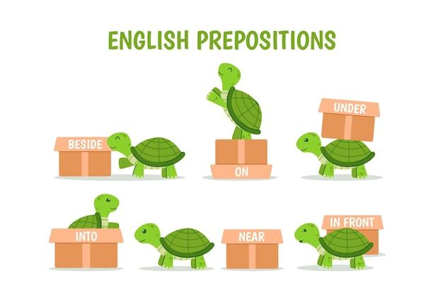 Kolekcja angielskich przyimków z żółwiem