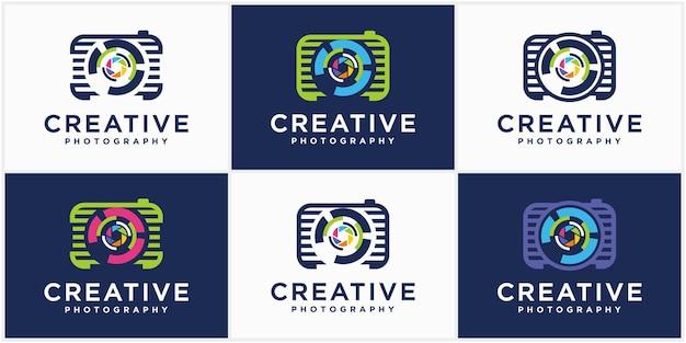 Kolekcja aparatów fotograficznych technologia logo ikona wektor szablony fotografia logo design