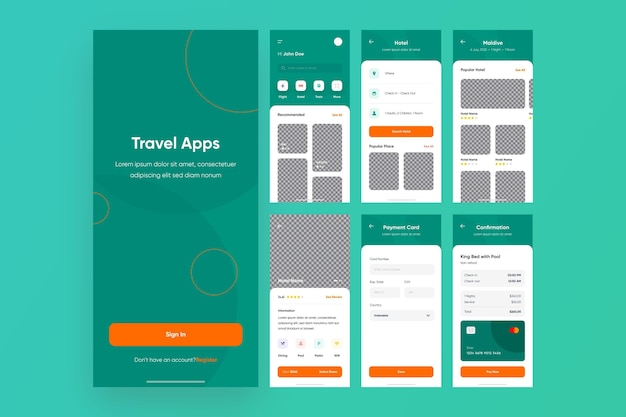 Kolekcja aplikacji do rezerwacji podróży