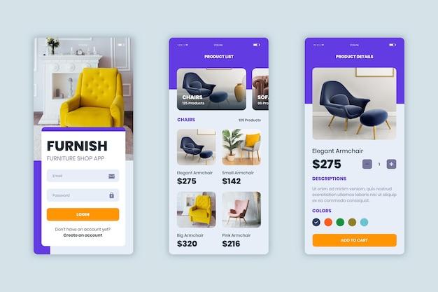 Kolekcja aplikacji do zakupów mebli