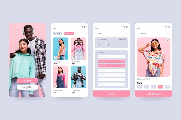 Kolekcja aplikacji do zakupów mody