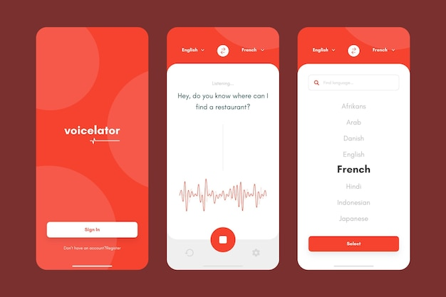 Kolekcja aplikacji tłumacza głosu
