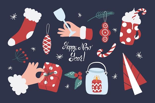 Kolekcja artykułów bożonarodzeniowych, takich jak skarpeta gorąca kakao świeczka prezentowa na choinkę elementy zapewniające komfort noworoczny
