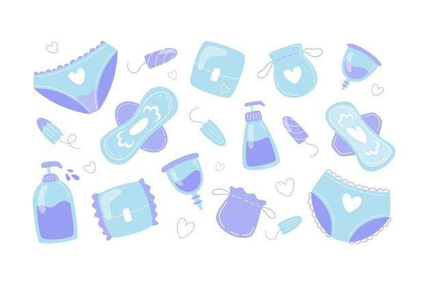 Kolekcja artykułów higieny kobiecej w płaskim stylu