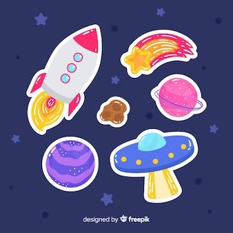 Kolekcja artystycznych naklejek kosmicznych