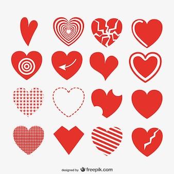Kolekcja artystycznych serc czerwony