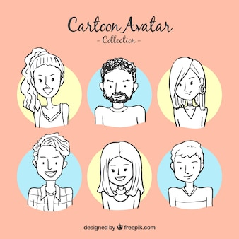 Kolekcja avatarów wyciągniętych ręcznie