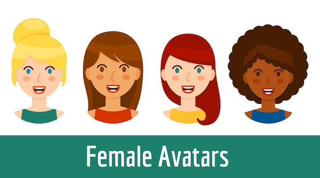 Kolekcja avatary różnych kobiet na białym tle. piękne, uśmiechnięte portrety dziewczyny w stylu cartoon - blondynka, brunetka, rude włosy i czarna dziewczyna. ilustracja wektorowa.