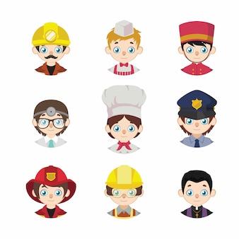 Kolekcja awatarów kreskówek ludzi przedstawiających miejsca pracy