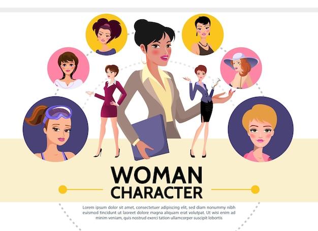 Kolekcja awatarów płaskich postaci kobiecych pań ubranych w różne ubrania z inną ilustracją fryzury