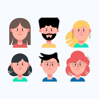 Kolekcja awatarów różnych osób