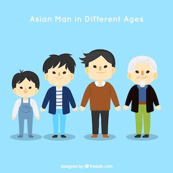 Kolekcja azjatyckich mężczyzn w różnym wieku