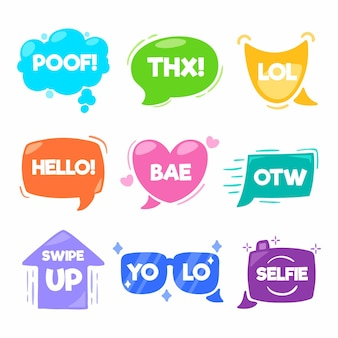 Kolekcja bąbelków slangowych mediów społecznościowych