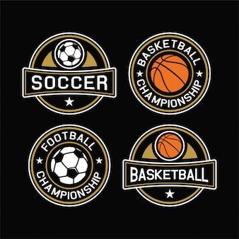 Kolekcja bagde mistrzów piłki nożnej i koszykówki