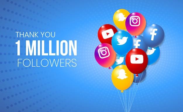 Kolekcja balonów 3d social media do prezentacji osiągnięć banerowych i kamieni milowych