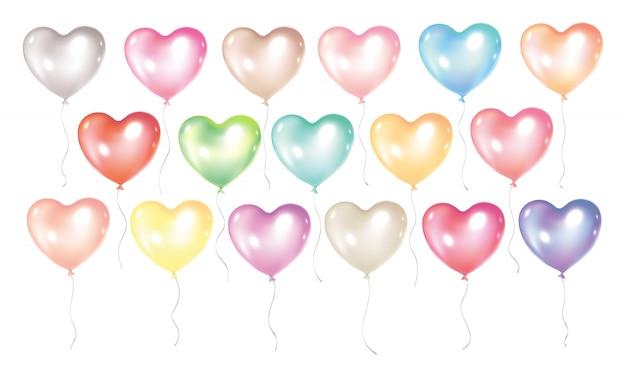 Kolekcja balonów na białym tle