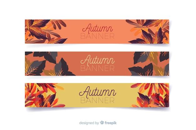 Kolekcja banerów akwarela jesień