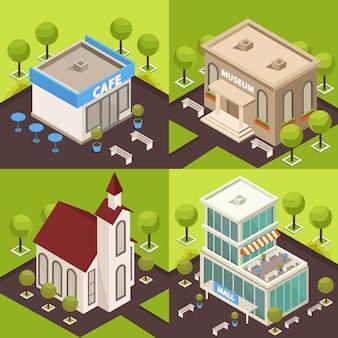 Kolekcja banerów architektury miejskiej