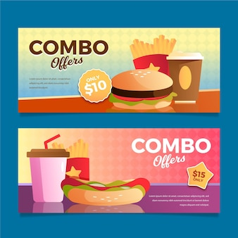 Kolekcja banerów combo posiłki fast food