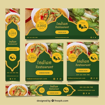 Kolekcja banerów indyjskich restauracji ze zdjęciami