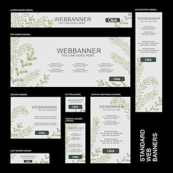 Kolekcja banerów internetowych - botaniczna