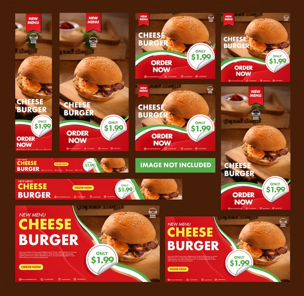 Kolekcja banerów internetowych burger
