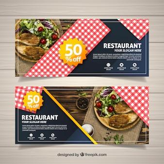 Kolekcja banerów internetowych restauracja ze zdjęciem