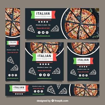 Kolekcja banerów internetowych restauracji ze zdjęciem