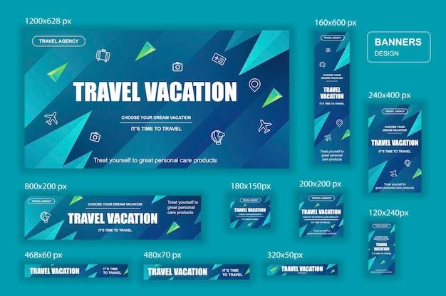 Kolekcja banerów internetowych sieci społecznościowych o różnych rozmiarach dla reklam biur podróży