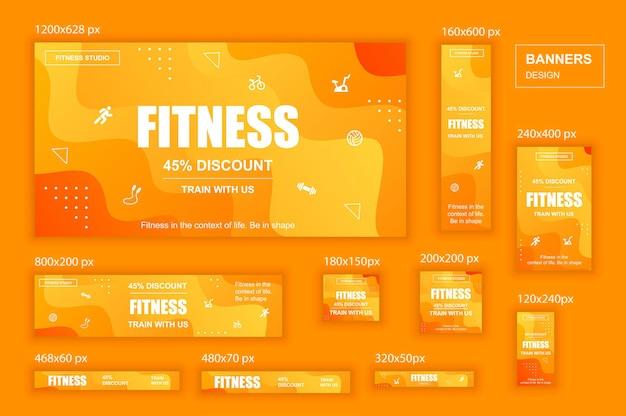 Kolekcja banerów internetowych sieci społecznościowych o różnych rozmiarach dla reklam siłowni fitness