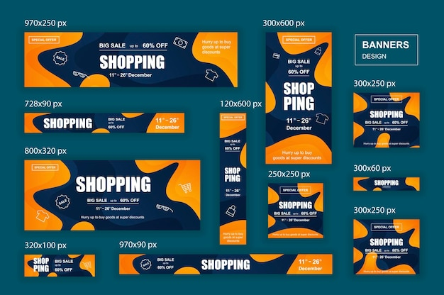 Kolekcja banerów internetowych sieci społecznościowych o różnych rozmiarach dla reklam zakupowych