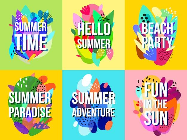 Kolekcja banerów jasne streszczenie lato sprzedaż