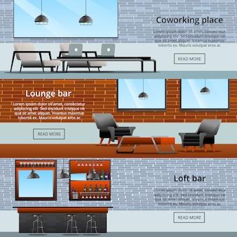Kolekcja banerów lounge loft